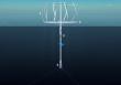 A SeaTwirl függőleges turbinája (1), a tórusz gyűrű (2), az úszó szerkezet (3) és a generátor (4)