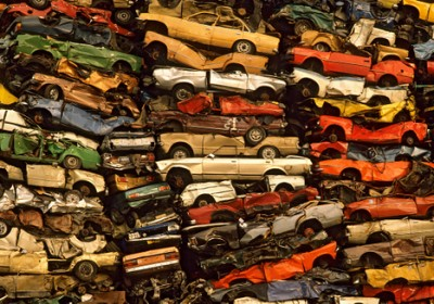 Old stacked cars in the Junkyard