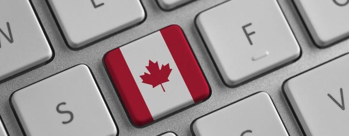 Canada flag on a laptop