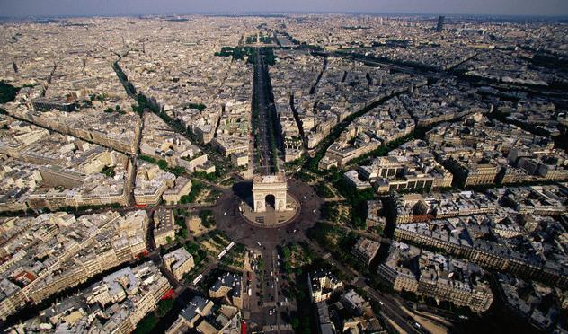 1806-1836, Paris, France --- Aerial View of the Arc de Triomphe Area --- Image by © Yann Arthus-Bertrand/Corbis