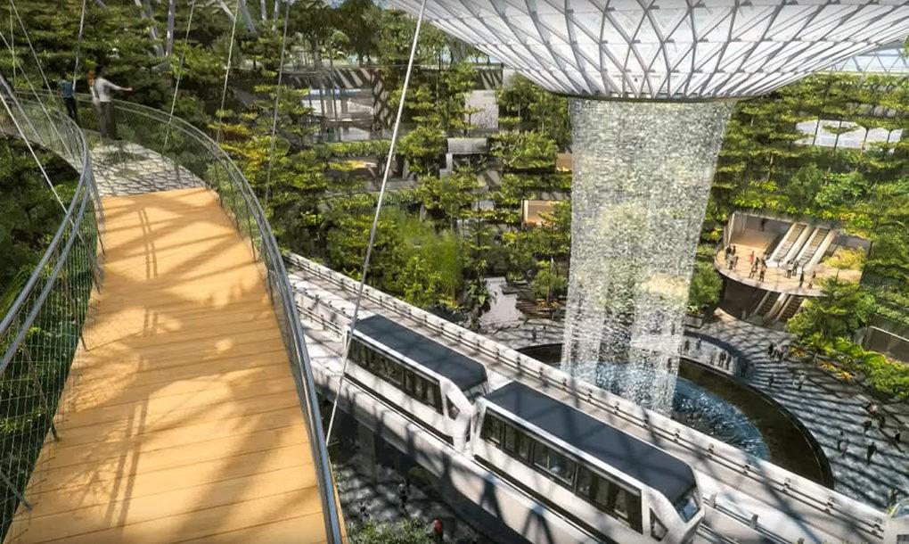 Szingapúr repülőterén lesz a legnagyobb beltéri vízesés