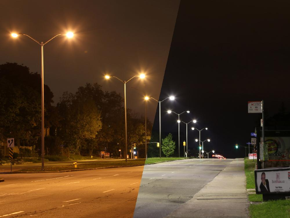 Photo of new LED street lights taken on Carling Ave. looking east, across the street from Civic Campus of Ottawa Hospital in Ottawa, Wednesday evening, May 28, 2014. The city has replaced the old-style street lights with LEDs for expected energy savings. The new LEDs are also appear to be brighter. Mike Carroccetto / Ottawa Citizen NEG#117202  ***** photo details: photo uncropped  4 second exposure f/8 200 ISO ORG XMIT: POS1405282309579448