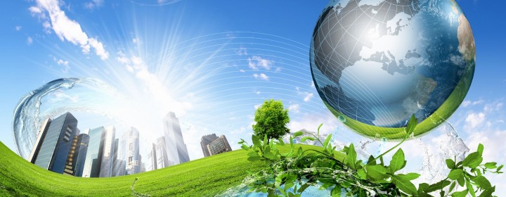 13225843 - collage of green nature landscape with planet earth above it