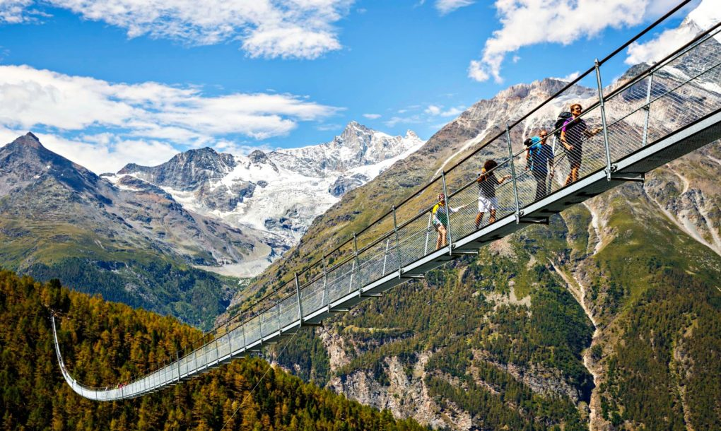 Opening of the world's longest pedestrian suspended bridge (494m) on the Europaweg in Randa, Switzerland, Saturday July 29, 2017. (PHOTOVF/Valentin Flauraud)