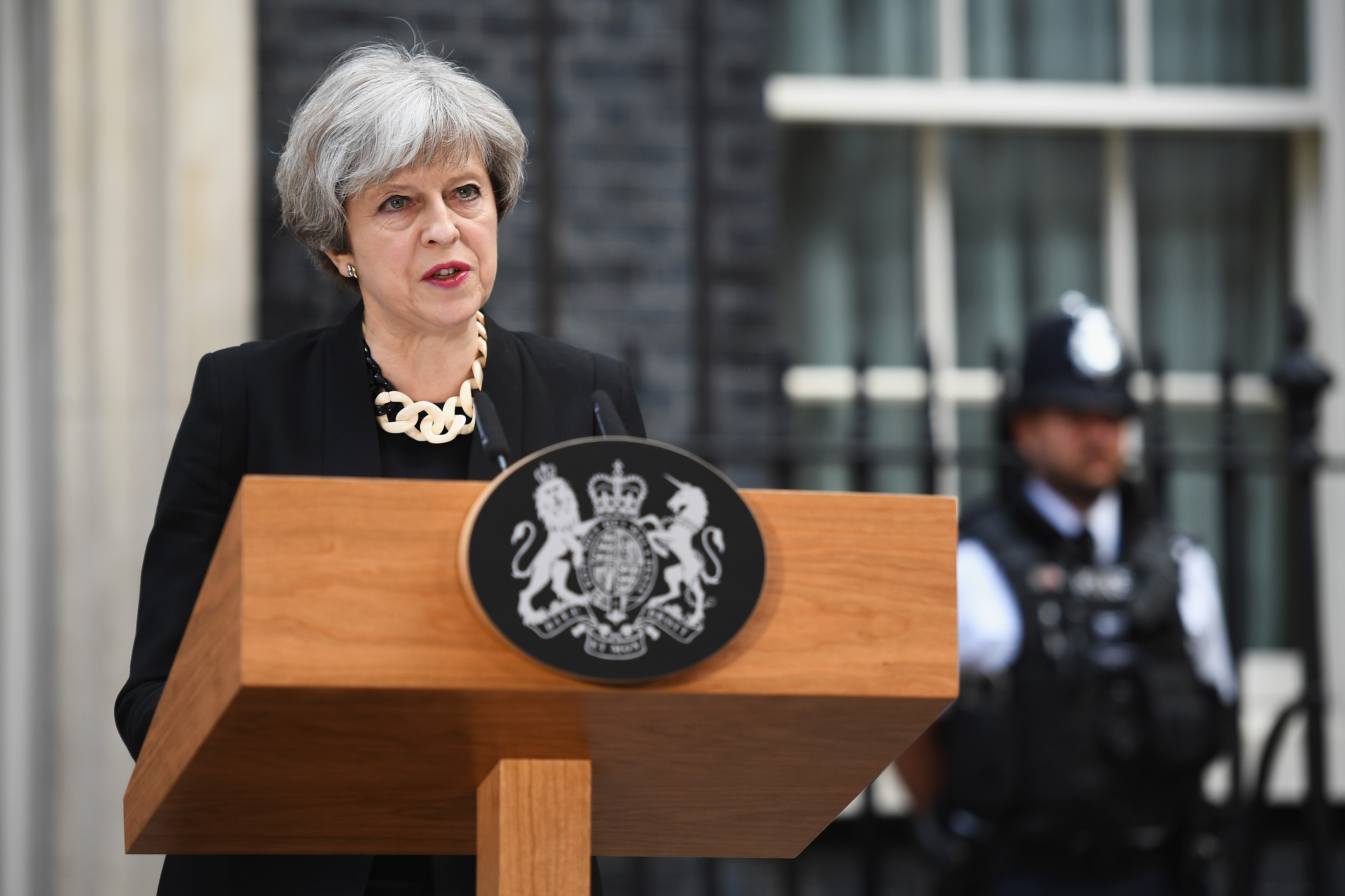 LONDON, ENGLAND - JUNE 04:  Britain's Prime Minister Theresa May addresses the media as she makes a statement, following a COBRA meeting in response to last night's London terror attack, at 10 Downing Street on June 4, 2017 in London, England. Prime Minister Theresa May has left the election campaign trail to hold a meeting of the emergency response committee, Cobra, this morning following a terror attack in central London on Saturday night. 7 people were killed and at least 48 injured in terror attacks on London Bridge and Borough Market. Three attackers were shot dead by armed police.  (Photo by Leon Neal/Getty Images)