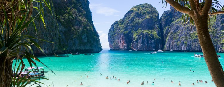 A view of mountains and the water at Maya Bay in Thailand